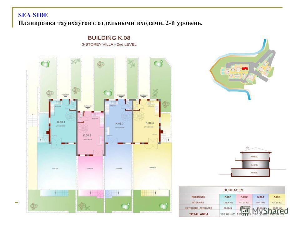 SEA SIDE Планировка таунхаусов с отдельными входами. 2-й уровень.