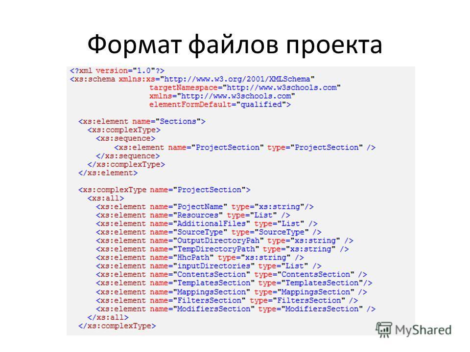 Формат файлов проекта