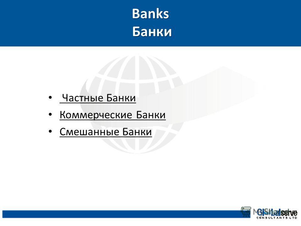 Banks Банки Частные Банки Коммерческие Банки Смешанные Банки