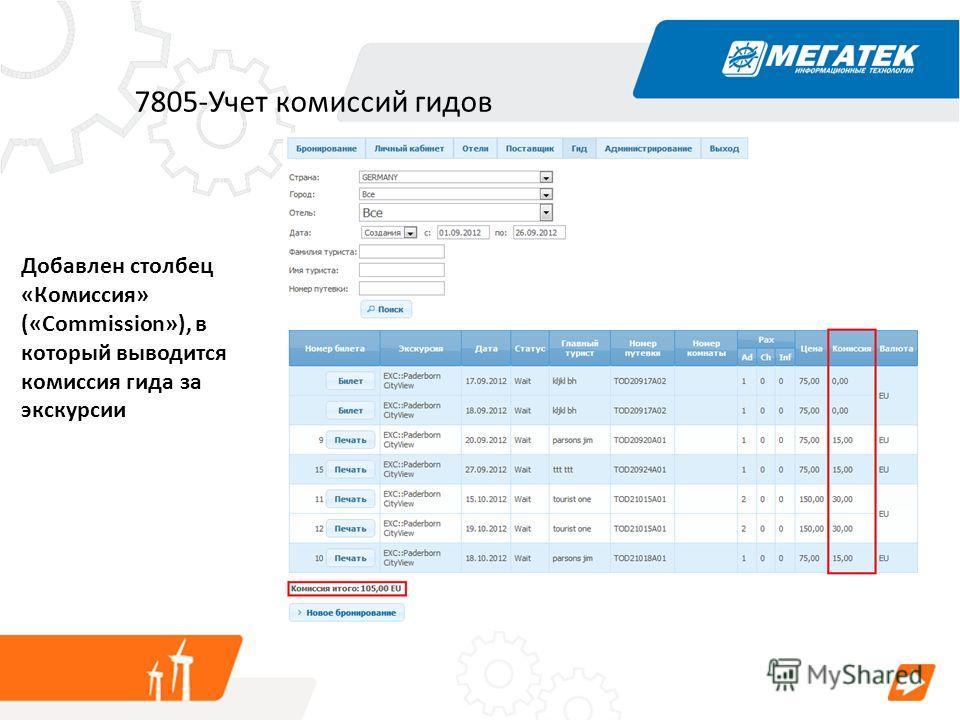 7805-Учет комиссий гидов Добавлен столбец «Комиссия» («Commission»), в который выводится комиссия гида за экскурсии