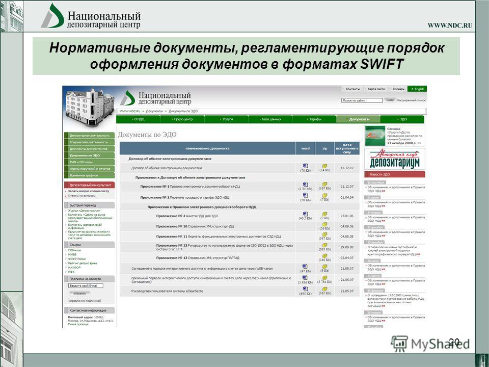 20 Нормативные документы, регламентирующие порядок оформления документов в форматах SWIFT