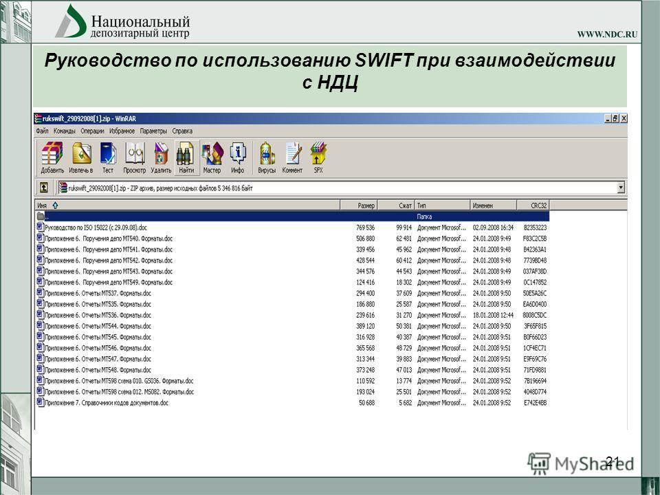 21 Руководство по использованию SWIFT при взаимодействии с НДЦ