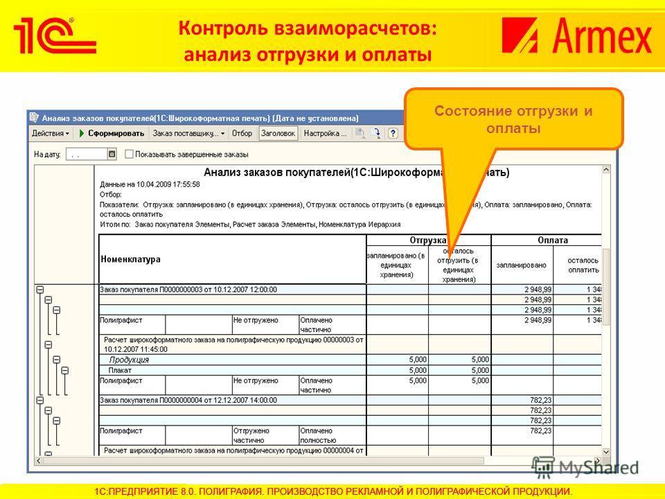 Контроль взаиморасчетов: анализ отгрузки и оплаты Состояние отгрузки и оплаты