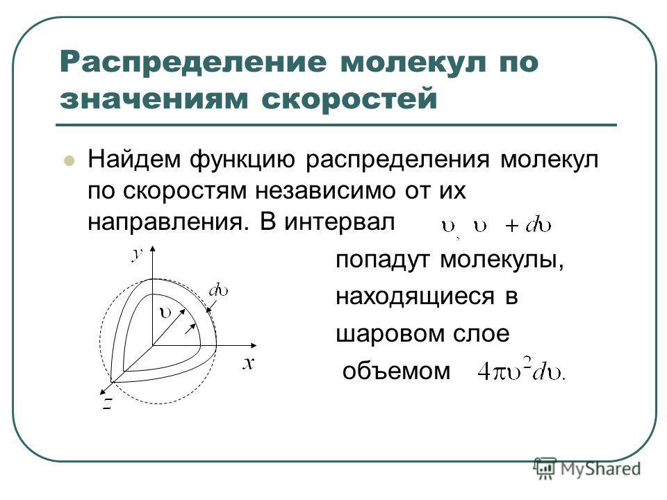 Распределение молекул по значениям скоростей Найдем функцию распределения молекул по скоростям независимо от их направления. В интервал попадут молекулы, находящиеся в шаровом слое объемом