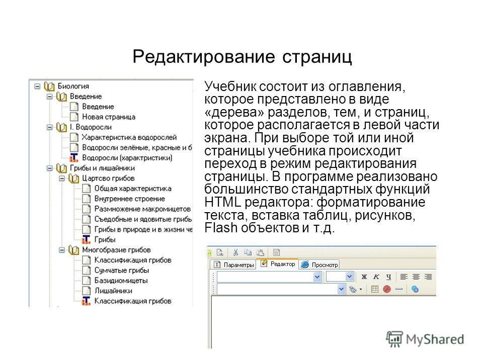 Учебник состоит из оглавления, которое представлено в виде «дерева» разделов, тем, и страниц, которое располагается в левой части экрана. При выборе той или иной страницы учебника происходит переход в режим редактирования страницы. В программе реализ
