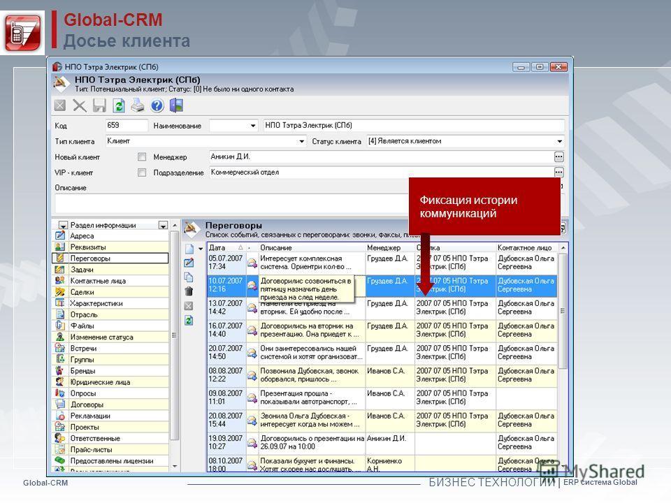 Global-CRM БИЗНЕС ТЕХНОЛОГИИ | ERP система Global Global-CRM Досье клиента Фиксация истории коммуникаций