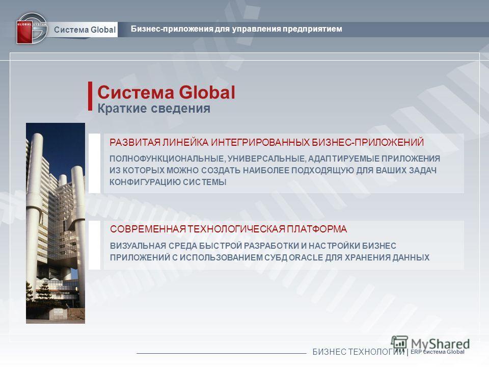 БИЗНЕС ТЕХНОЛОГИИ | ERP система Global Система Global Бизнес-приложения для управления предприятием СОВРЕМЕННАЯ ТЕХНОЛОГИЧЕСКАЯ ПЛАТФОРМА Системa Global Краткие сведения ВИЗУАЛЬНАЯ СРЕДА БЫСТРОЙ РАЗРАБОТКИ И НАСТРОЙКИ БИЗНЕС ПРИЛОЖЕНИЙ С ИСПОЛЬЗОВАНИ