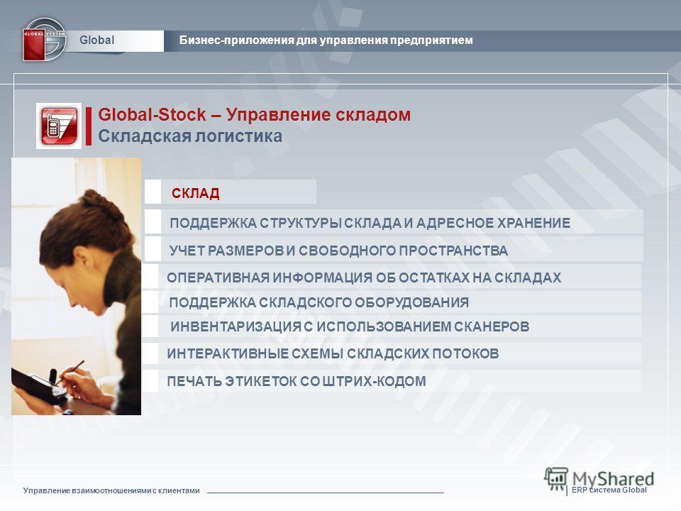Управление взаимоотношениями с клиентами | ERP система Global GlobalБизнес-приложения для управления предприятием Global-Stock – Управление складом Складская логистика ОПЕРАТИВНАЯ ИНФОРМАЦИЯ ОБ ОСТАТКАХ НА СКЛАДАХ ПОДДЕРЖКА СКЛАДСКОГО ОБОРУДОВАНИЯ ИН