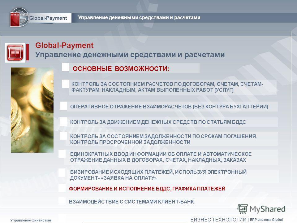 Global-Payment Управление денежными средствами и расчетами ОСНОВНЫЕ ВОЗМОЖНОСТИ: КОНТРОЛЬ ЗА СОСТОЯНИЕМ РАСЧЕТОВ ПО ДОГОВОРАМ, СЧЕТАМ, СЧЕТАМ- ФАКТУРАМ, НАКЛАДНЫМ, АКТАМ ВЫПОЛЕННЫХ РАБОТ [УСЛУГ] ЕДИНОКРАТНЫХ ВВОД ИНФОРМАЦИИ ОБ ОПЛАТЕ И АВТОМАТИЧЕСКОЕ