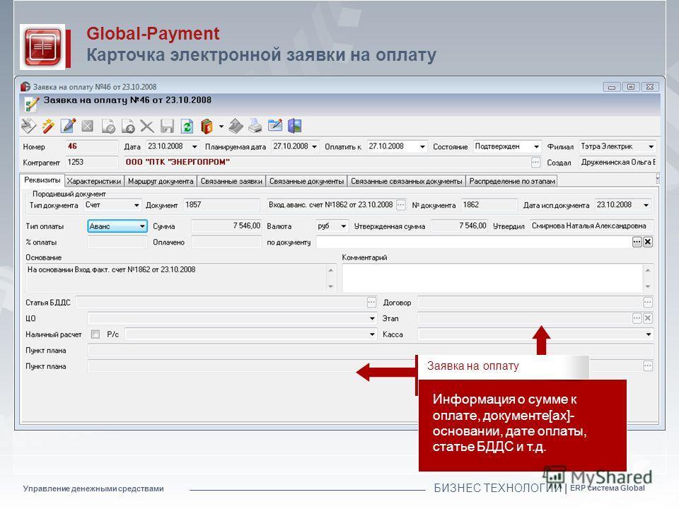 Управление денежными средствами БИЗНЕС ТЕХНОЛОГИИ | ERP система Global Global-Payment Карточка электронной заявки на оплату Информация о сумме к оплате, документе[ах]- основании, дате оплаты, статье БДДС и т.д. Заявка на оплату
