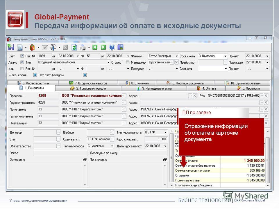 Управление денежными средствами БИЗНЕС ТЕХНОЛОГИИ | ERP система Global Global-Payment Передача информации об оплате в исходные документы Отражение информации об оплате в карточке документа ПП по заявке