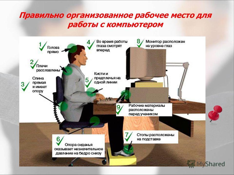 Правильно организованное рабочее место для работы с компьютером