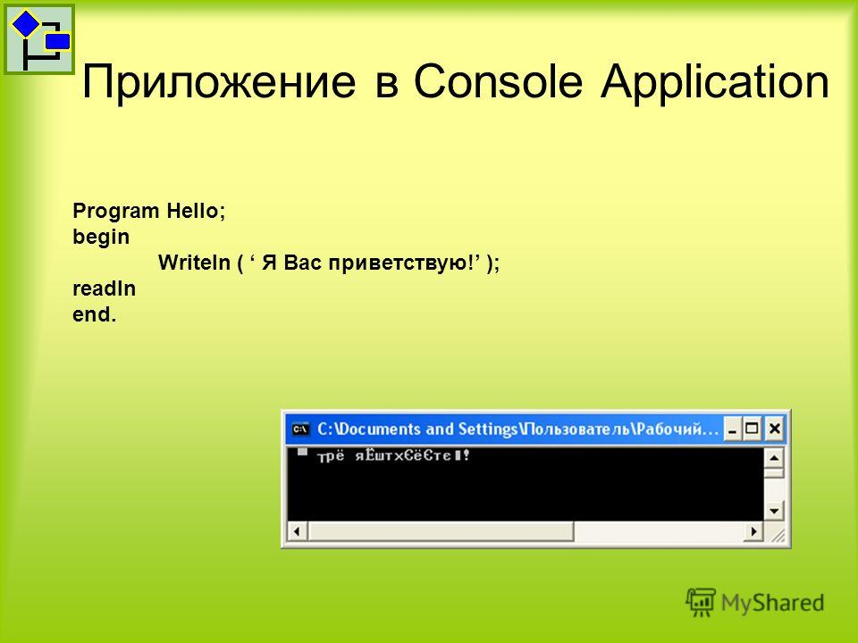 Приложение в Console Application Program Hello; begin Writeln ( Я Вас приветствую! ); readln end.