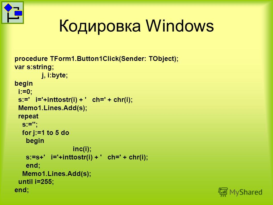 Кодировка Windows procedure TForm1.Button1Click(Sender: TObject); var s:string; j, i:byte; begin i:=0; s:=' i='+inttostr(i) + ' ch=' + chr(i); Memo1.Lines.Add(s); repeat s:=''; for j:=1 to 5 do begin inc(i); s:=s+' i='+inttostr(i) + ' ch=' + chr(i);