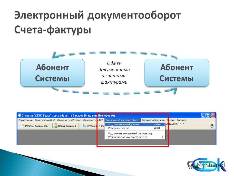 Абонент Системы Обмен документами и счетами- фактурами