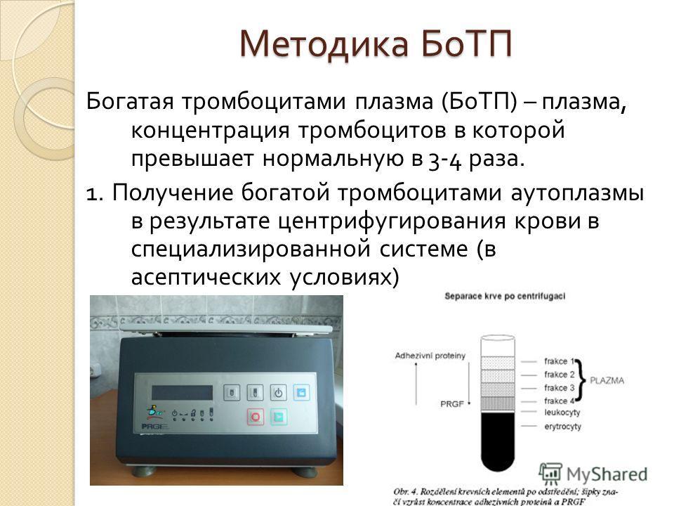 Методика БоТП Богатая тромбоцитами плазма ( БоТП ) – плазма, концентрация тромбоцитов в которой превышает нормальную в 3-4 раза. 1. Получение богатой тромбоцитами аутоплазмы в результате центрифугирования крови в специализированной системе ( в асепти