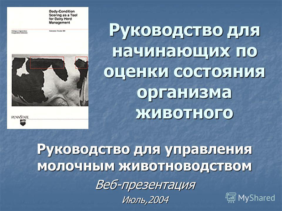 Руководство для начинающих по оценки состояния организма животного Руководство для управления молочным животноводством Веб-презентацияИюль,2004