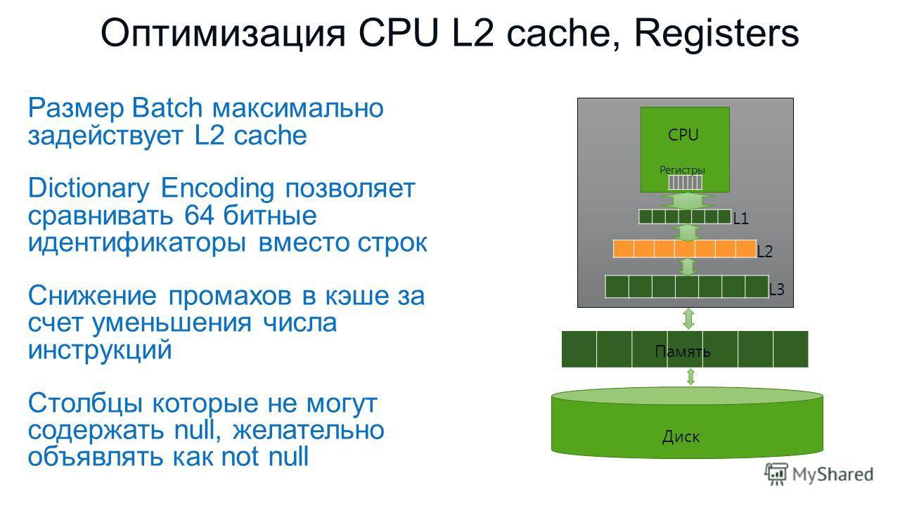 Размер Batch максимально задействует L2 cache Dictionary Encoding позволяет сравнивать 64 битные идентификаторы вместо строк Снижение промахов в кэше за счет уменьшения числа инструкций Столбцы которые не могут содержать null, желательно объявлять ка