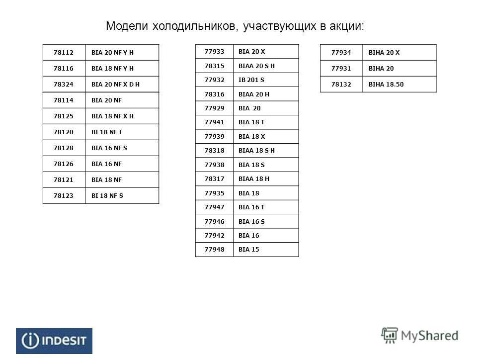 Модели холодильников, участвующих в акции: 78112BIA 20 NF Y H 78116BIA 18 NF Y H 78324BIA 20 NF X D H 78114BIA 20 NF 78125BIA 18 NF X H 78120BI 18 NF L 78128BIA 16 NF S 78126BIA 16 NF 78121BIA 18 NF 78123BI 18 NF S 77933BIA 20 X 78315BIAA 20 S H 7793
