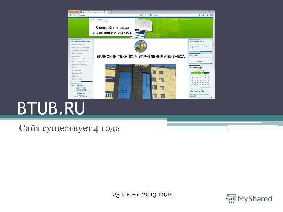BTUB.RU Сайт существует 4 года 25 июня 2013 года