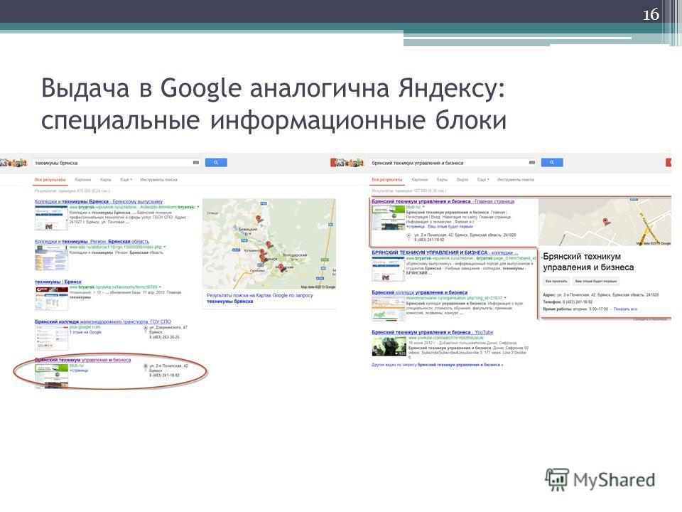 Выдача в Google аналогична Яндексу: специальные информационные блоки 16