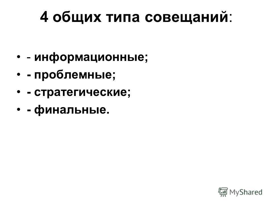 4 общих типа совещаний: - информационные; - проблемные; - стратегические; - финальные.