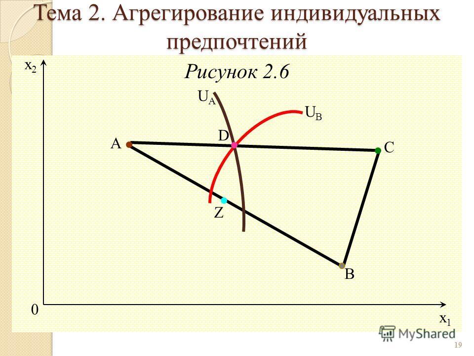 Рисунок 2.6 19 0 x1x1 x2x2 D UBUB UAUA Z C B A Тема 2. Агрегирование индивидуальных предпочтений