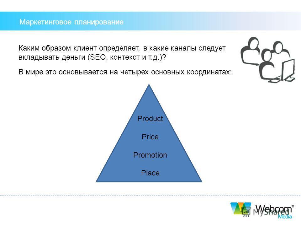 Каким образом клиент определяет, в какие каналы следует вкладывать деньги (SEO, контекст и т.д.)? В мире это основывается на четырех основных координатах: Product Price Promotion Place Маркетинговое планирование