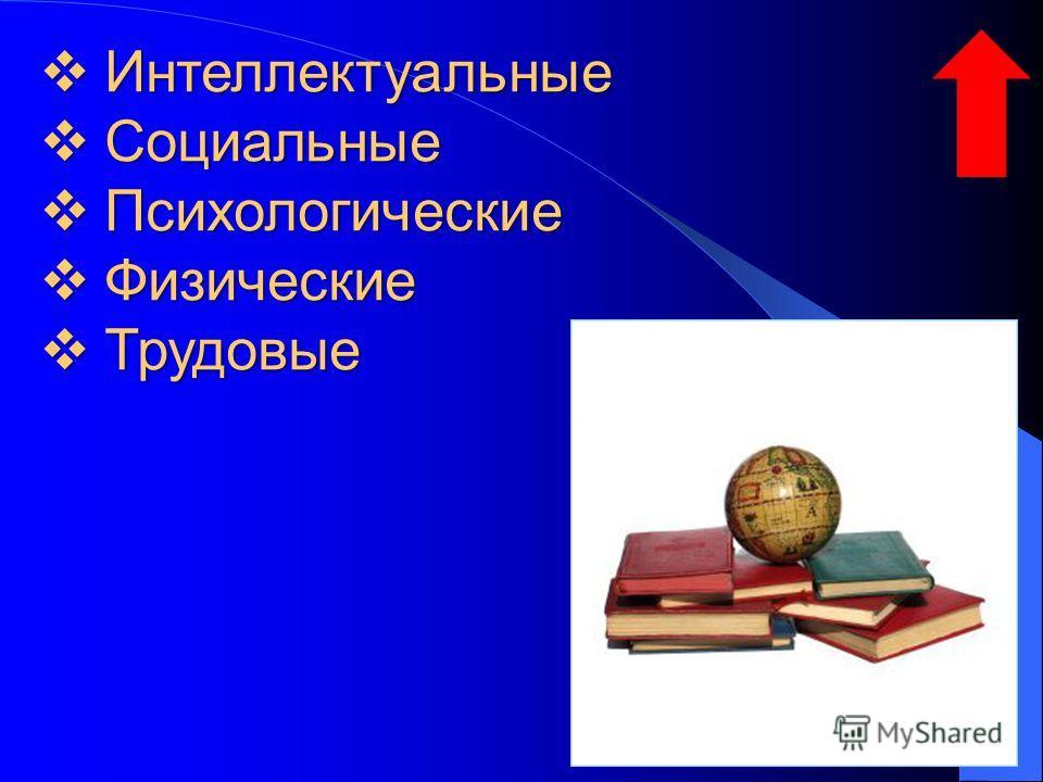 Интеллектуальные Интеллектуальные Социальные Социальные Психологические Психологические Физические Физические Трудовые Трудовые