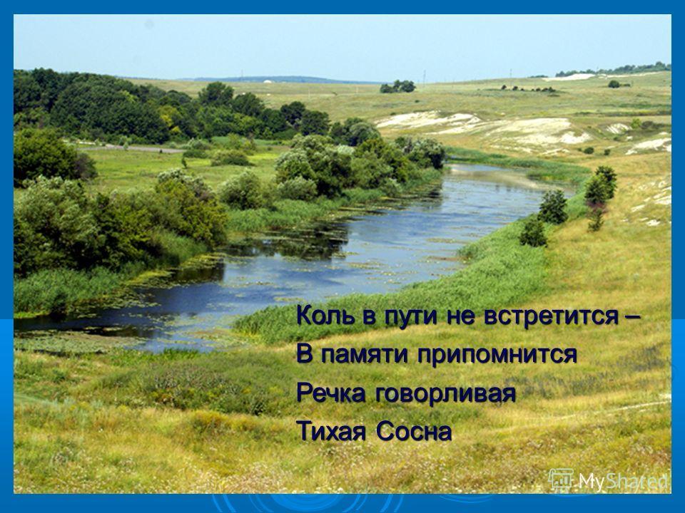 Коль в пути не встретится – В памяти припомнится Речка говорливая Тихая Сосна