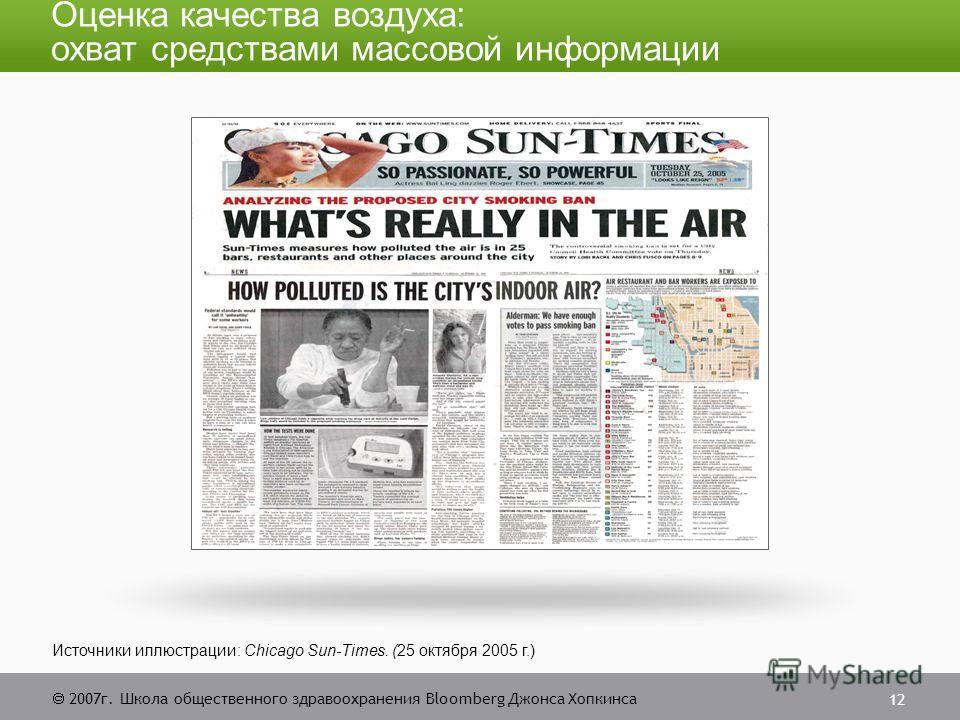 2007г. Школа общественного здравоохранения Bloomberg Джонса Хопкинса 12 Источники иллюстрации: Chicago Sun-Times. (25 октября 2005 г.) Оценка качества воздуха: охват средствами массовой информации