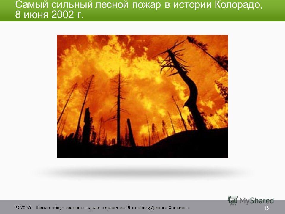 2007г. Школа общественного здравоохранения Bloomberg Джонса Хопкинса 15 Самый сильный лесной пожар в истории Колорадо, 8 июня 2002 г.