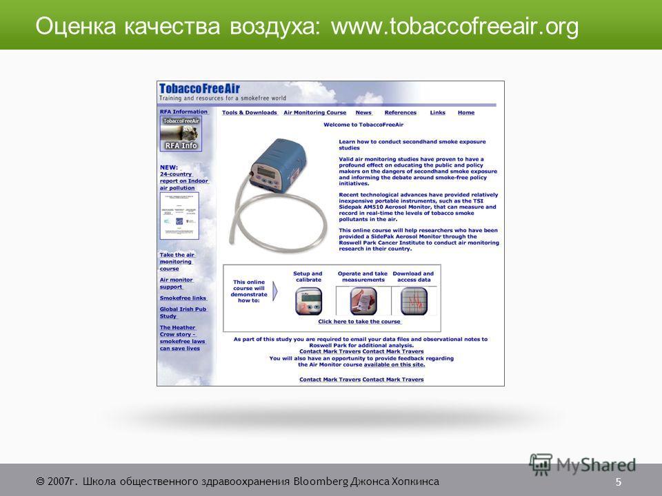 2007г. Школа общественного здравоохранения Bloomberg Джонса Хопкинса 5 Оценка качества воздуха: www.tobaccofreeair.org
