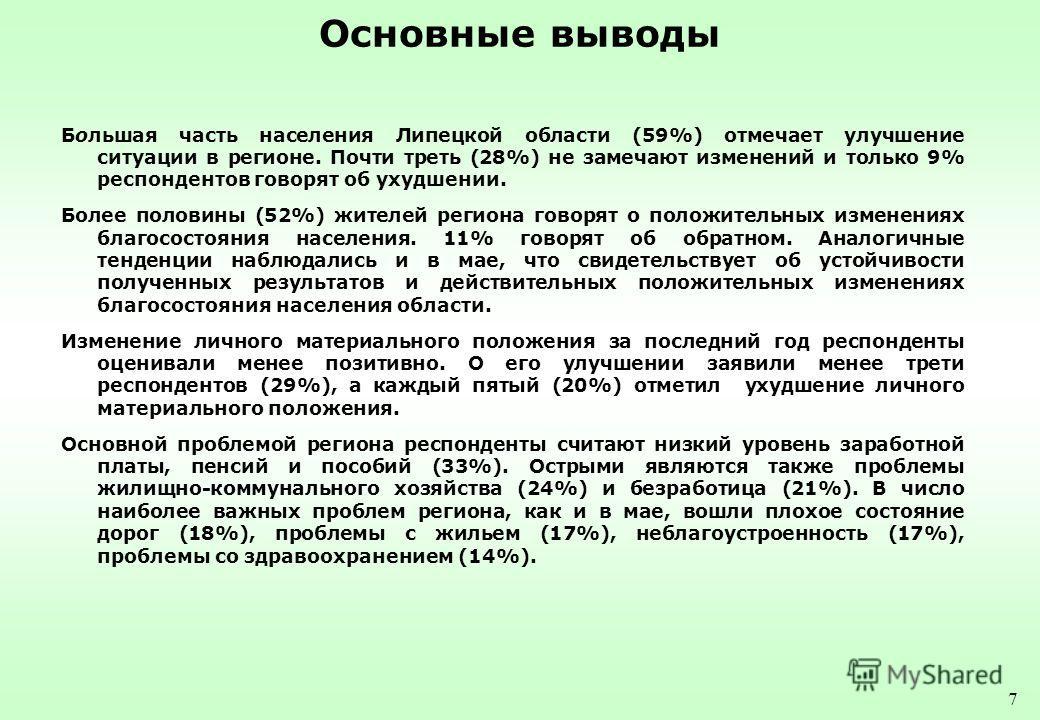 7 Основные выводы Большая часть населения Липецкой области (59%) отмечает улучшение ситуации в регионе. Почти треть (28%) не замечают изменений и только 9% респондентов говорят об ухудшении. Более половины (52%) жителей региона говорят о положительны