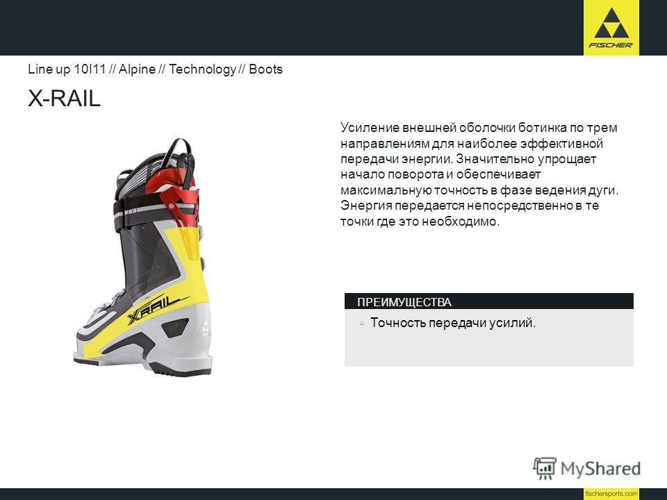X-RAIL Line up 10I11 // Alpine // Technology // Boots Усиление внешней оболочки ботинка по трем направлениям для наиболее эффективной передачи энергии. Значительно упрощает начало поворота и обеспечивает максимальную точность в фазе ведения дуги. Эне