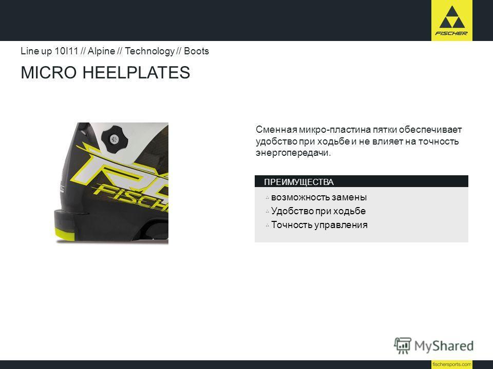 MICRO HEELPLATES Line up 10I11 // Alpine // Technology // Boots Сменная микро-пластина пятки обеспечивает удобство при ходьбе и не влияет на точность энергопередачи. возможность замены Удобство при ходьбе Точность управления ПРЕИМУЩЕСТВА