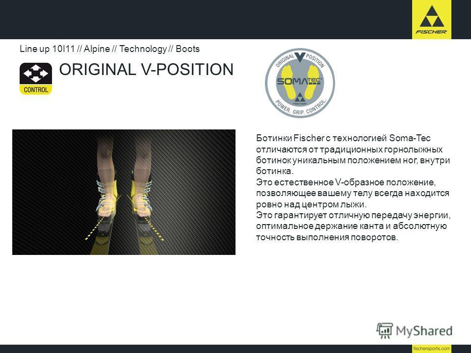 ORIGINAL V-POSITION Line up 10I11 // Alpine // Technology // Boots Ботинки Fischer с технологией Soma-Tec отличаются от традиционных горнолыжных ботинок уникальным положением ног, внутри ботинка. Это естественное V-образное положение, позволяющее ваш