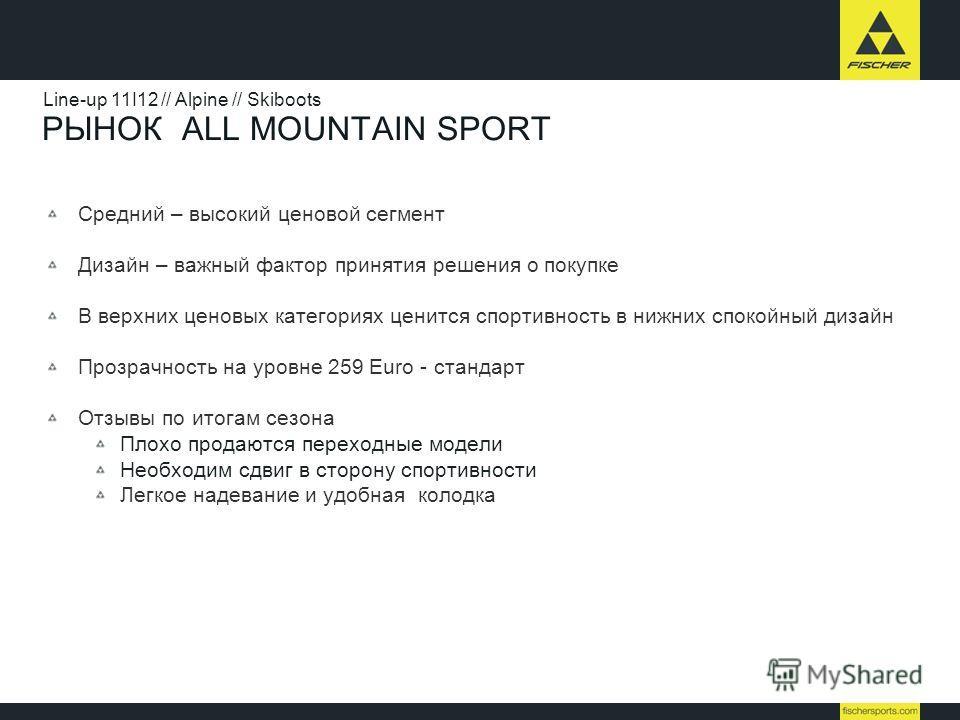 РЫНОК ALL MOUNTAIN SPORT Средний – высокий ценовой сегмент Дизайн – важный фактор принятия решения о покупке В верхних ценовых категориях ценится спортивность в нижних спокойный дизайн Прозрачность на уровне 259 Euro - стандарт Отзывы по итогам сезон