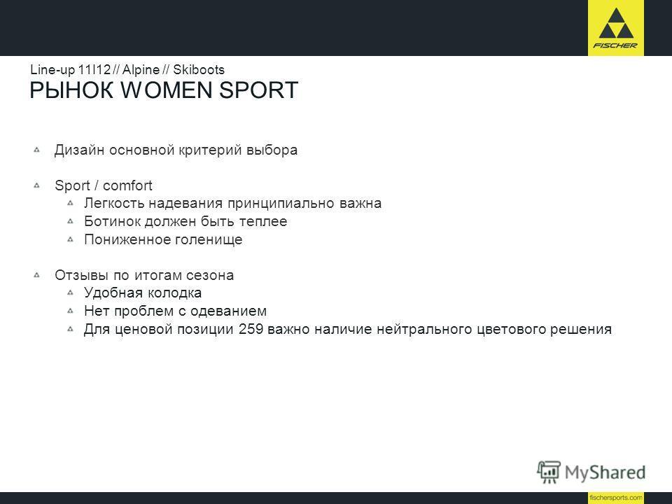 РЫНОК WOMEN SPORT Дизайн основной критерий выбора Sport / comfort Легкость надевания принципиально важна Ботинок должен быть теплее Пониженное голенище Отзывы по итогам сезона Удобная колодка Нет проблем с одеванием Для ценовой позиции 259 важно нали