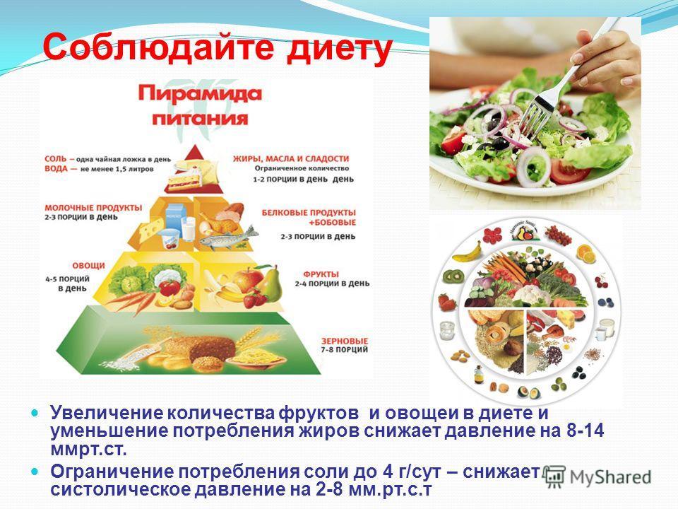 Соблюдайте диету Увеличение количества фруктов и овощей в диете и уменьшение потребления жиров снижает давление на 8-14 ммрт.ст. Ограничение потребления соли до 4 г/сут – снижает систолическое давление на 2-8 мм.рт.с.т