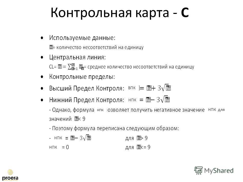 Контрольная карта - C ВПК НПК НПК для