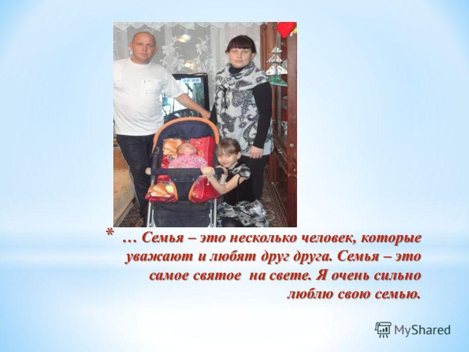 * … Семья – это несколько человек, которые уважают и любят друг друга. Семья – это самое святое на свете. Я очень сильно люблю свою семью.