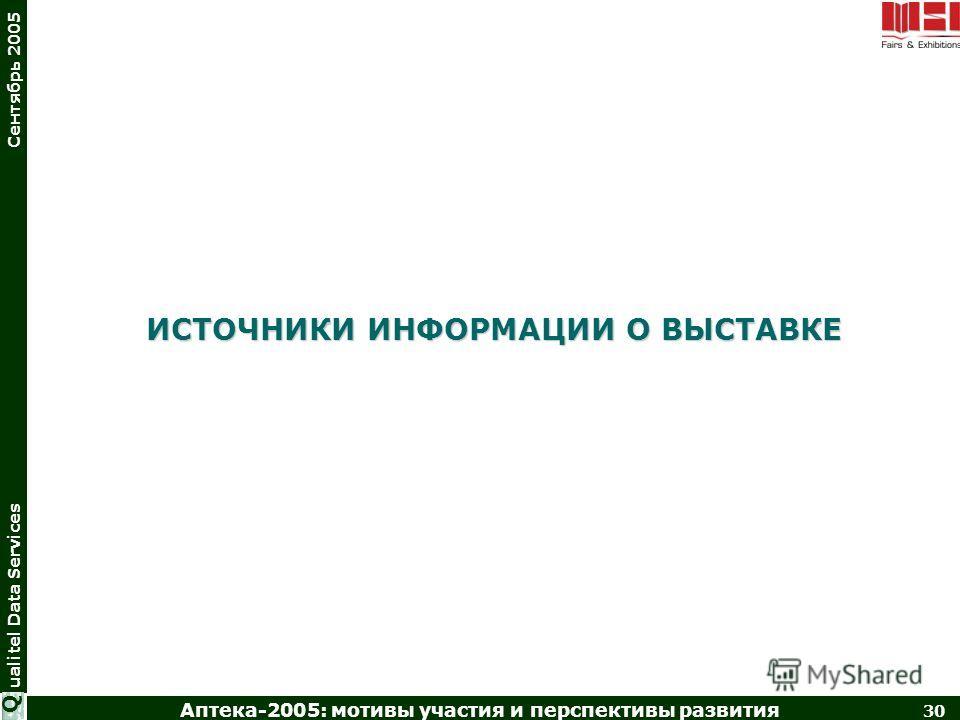 Аптека-2005: мотивы участия и перспективы развития 30 ualitel Data Services Сентябрь 2005 Q ИСТОЧНИКИ ИНФОРМАЦИИ О ВЫСТАВКЕ