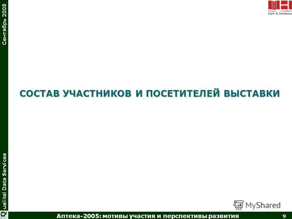 Аптека-2005: мотивы участия и перспективы развития 9 ualitel Data Services Сентябрь 2005 Q СОСТАВ УЧАСТНИКОВ И ПОСЕТИТЕЛЕЙ ВЫСТАВКИ