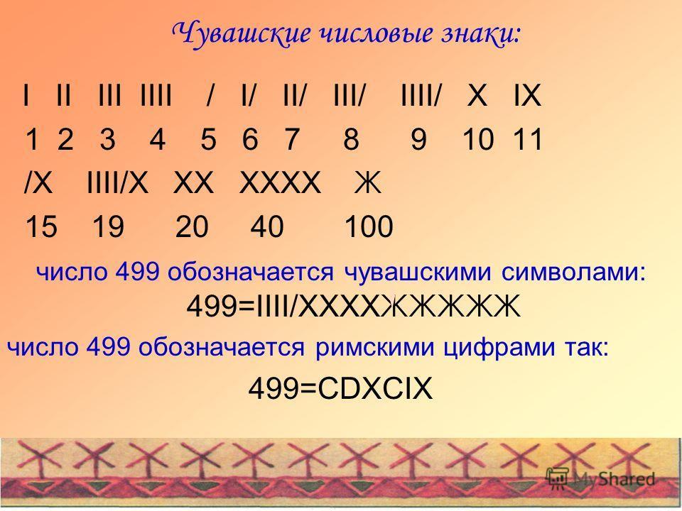 Чувашские числовые знаки: I II III IIII / I/ II/ III/ IIII/ X IX 1 2 3 4 5 6 7 8 9 10 11 /X IIII/X XX XXXX Ж 15 19 20 40 100 число 499 обозначается чувашскими символами: 499=IIII/XXXX ЖЖЖЖЖ число 499 обозначается римскими цифрами так: 499=CDXCIX