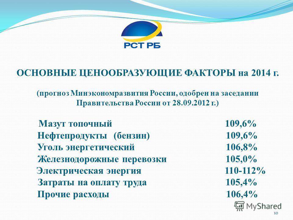 ОСНОВНЫЕ ЦЕНООБРАЗУЮЩИЕ ФАКТОРЫ на 2014 г. (прогноз Минэкономразвития России, одобрен на заседании Правительства России от 28.09.2012 г.) Мазут топочный 109,6% Нефтепродукты (бензин) 109,6% Уголь энергетический 106,8% Железнодорожные перевозки 105,0%