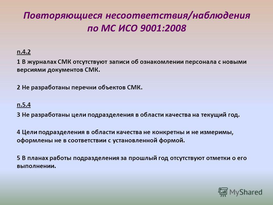 Повторяющиеся несоответствия/наблюдения по МС ИСО 9001:2008 п.4.2 1 В журналах СМК отсутствуют записи об ознакомлении персонала с новыми версиями документов СМК. 2 Не разработаны перечни объектов СМК. п.5.4 3 Не разработаны цели подразделения в облас