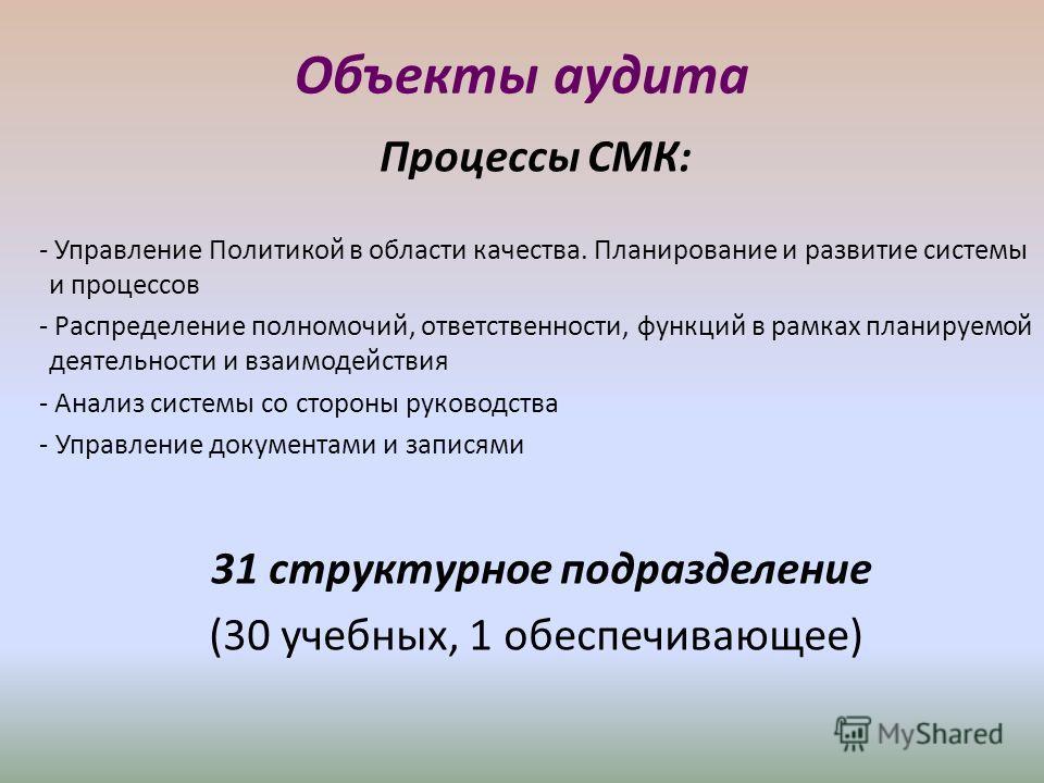 Объекты аудита Процессы СМК: - Управление Политикой в области качества. Планирование и развитие системы и процессов - Распределение полномочий, ответственности, функций в рамках планируемой деятельности и взаимодействия - Анализ системы со стороны ру