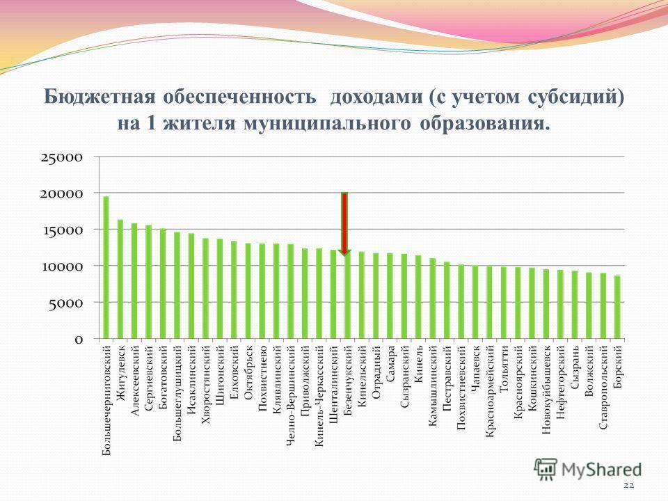 Бюджетная обеспеченность доходами (с учетом субсидий) на 1 жителя муниципального образования. 22