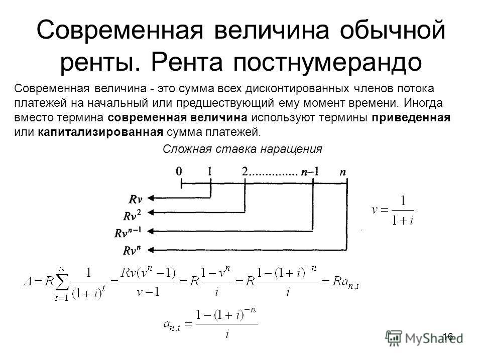 16 Современная величина обычной ренты. Рента постнумерандо Современная величина - это сумма всех дисконтированных членов потока платежей на начальный или предшествующий ему момент времени. Иногда вместо термина современная величина используют термины
